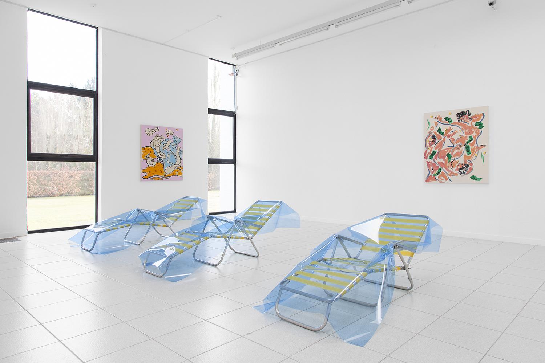 Dominic Samsworth  Improved Tan 1-3 , 2015 Sun lounger, UV gel 28 x 34 x 85 inches each