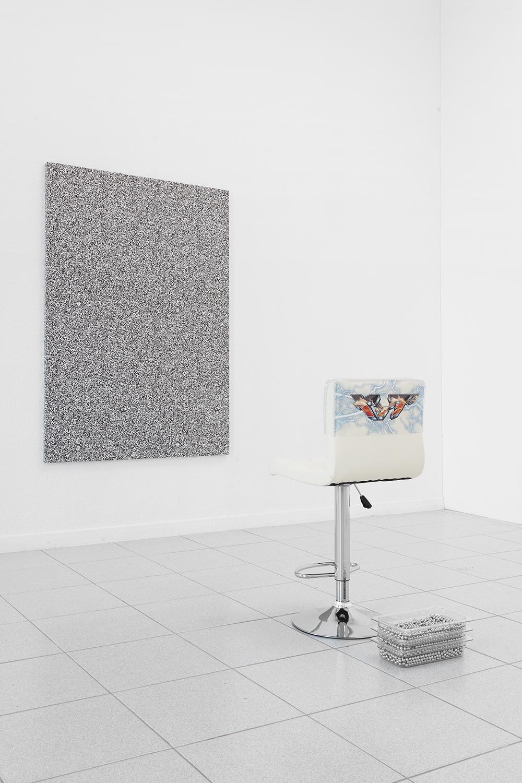 Alex Ito  Over and Over and Over and Over (towards Joy!) , 2015 Chair, pachinko balls, plastic and fabric 36 x 19 x 17 inches
