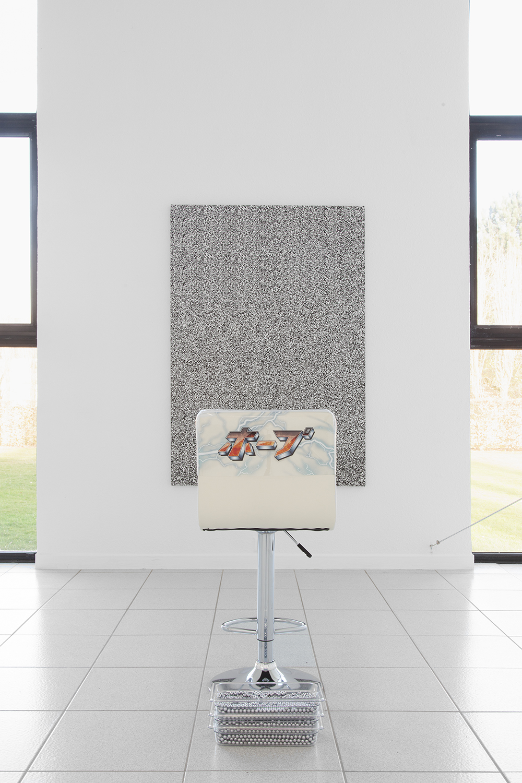 Alex Ito  Over and Over and Over and Over (towards hope) , 2015 Chair, pachinko balls, plastic and fabric 36 x 19 x 17 inches