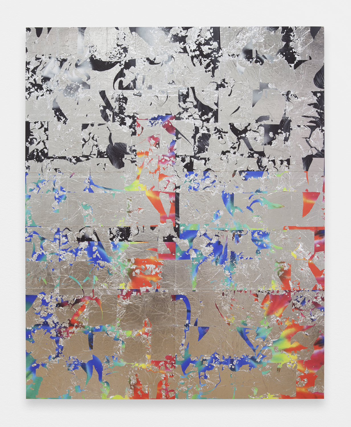 Brendan Lynch  Hippie Harley , 2014 Posters, paint and aluminium leaf on wood panel 60 x 48 inches