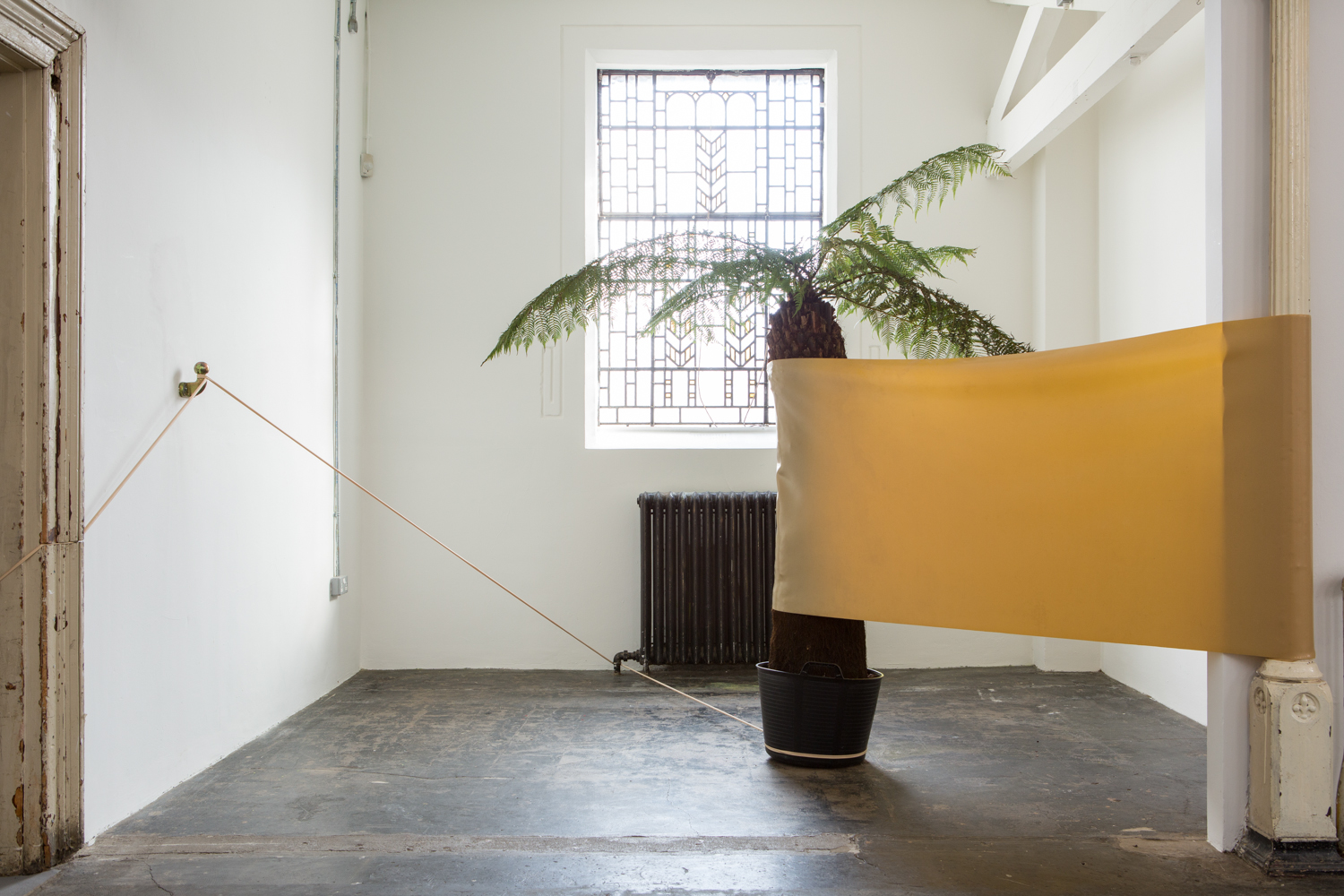 Zachary Susskind  Monument , 2015 Gum, architectural column, potted tree fern Dimensions variable