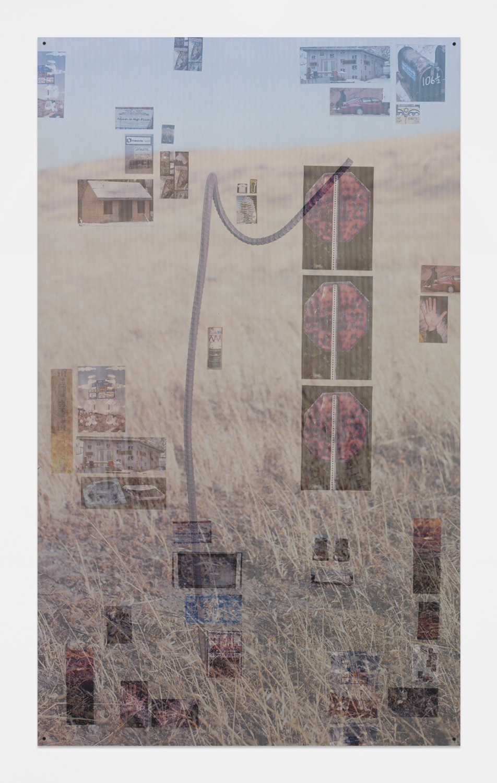 Evan Rebarts , 2015 Sintra, aluminum, decals, perforated decals and matte medium 75 x 45 inches