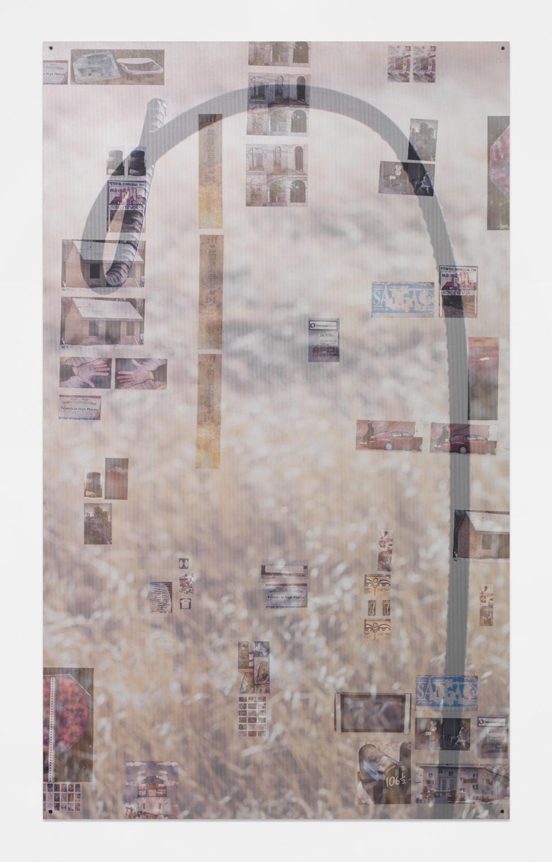 No More Mulligans  , 2015   Sintra, aluminum, decals, perforated decals and matte medium   75 x 45 inches