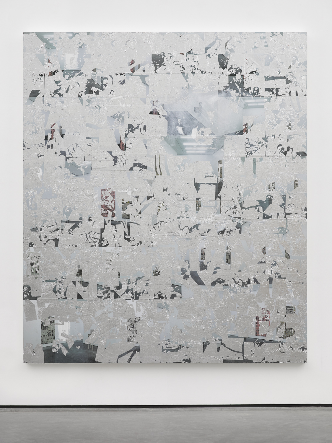 Thank You Nikolas Gambaroff ,2014 Posters, paint and aluminium leaf on wood panel 84 x 72 inches
