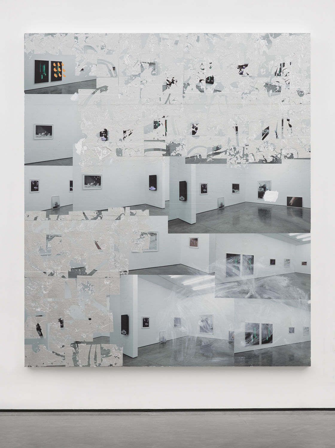 Thank You Matthew Booth ,2014 Posters, paint and aluminium leaf on wood panel 84 x 72 inches