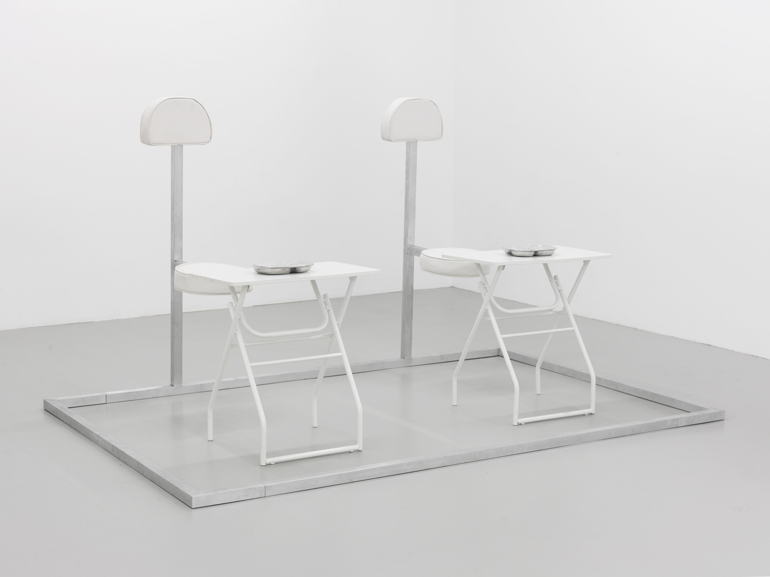 Movie and Dinner For Two (groupon) , 2015 Aluminum, leather, foam, stainless steel, rubber, wood and resin 53 x 92 x 60 inches