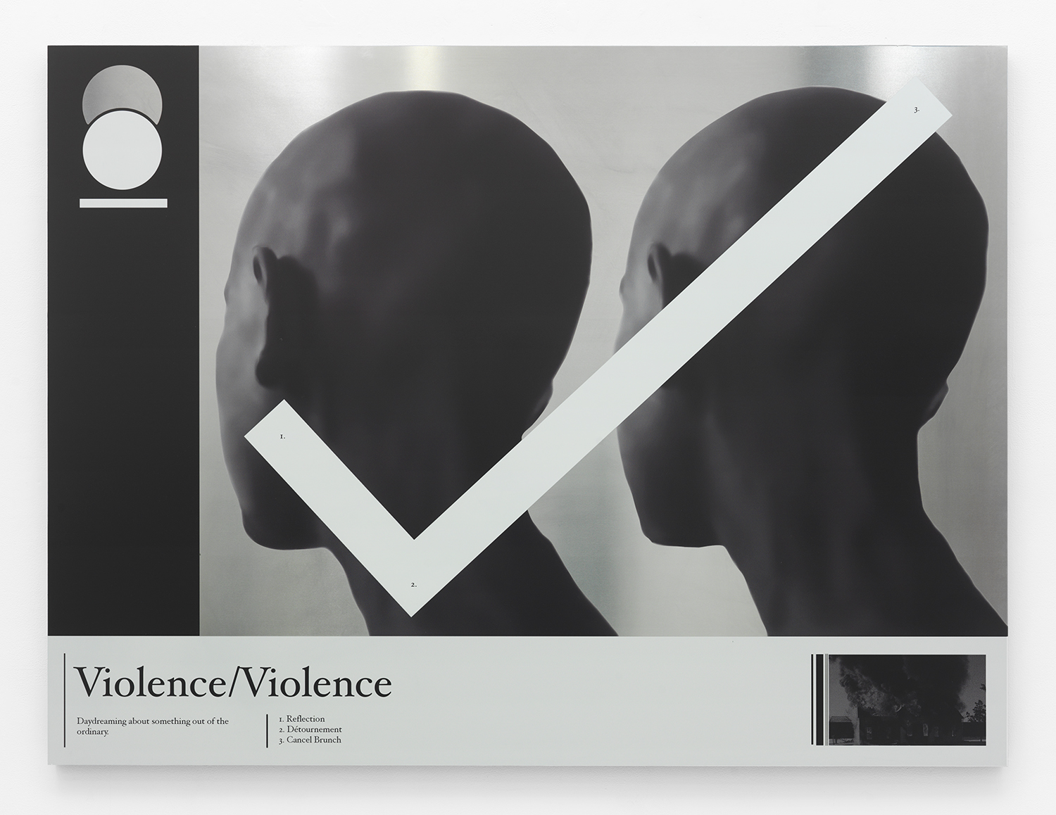 Violence Violence , 2015 UV curable ink on aluminum panel 45 x 60 inches