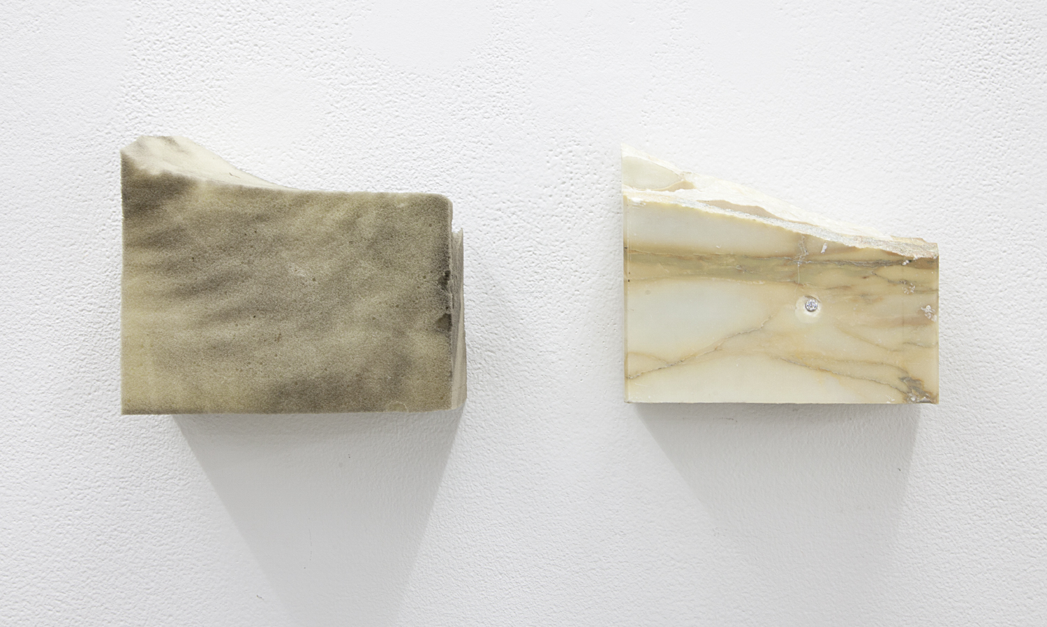 Moire , 2015 Marble, found foam, and manufactured diamond using Bideford black pigment 5 x 14.4 x 3 inches