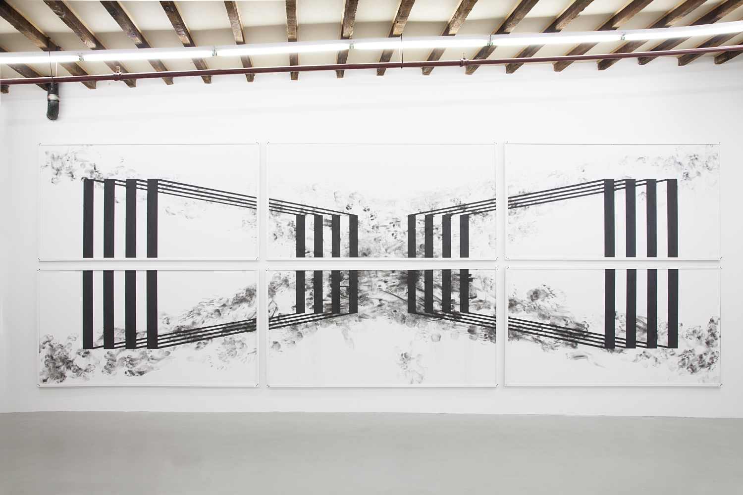 Pulmo , 2015 Sheetrock, Bideford black pigment, and framed floor from live obstacle course 99 x 194 x 1.5 inches