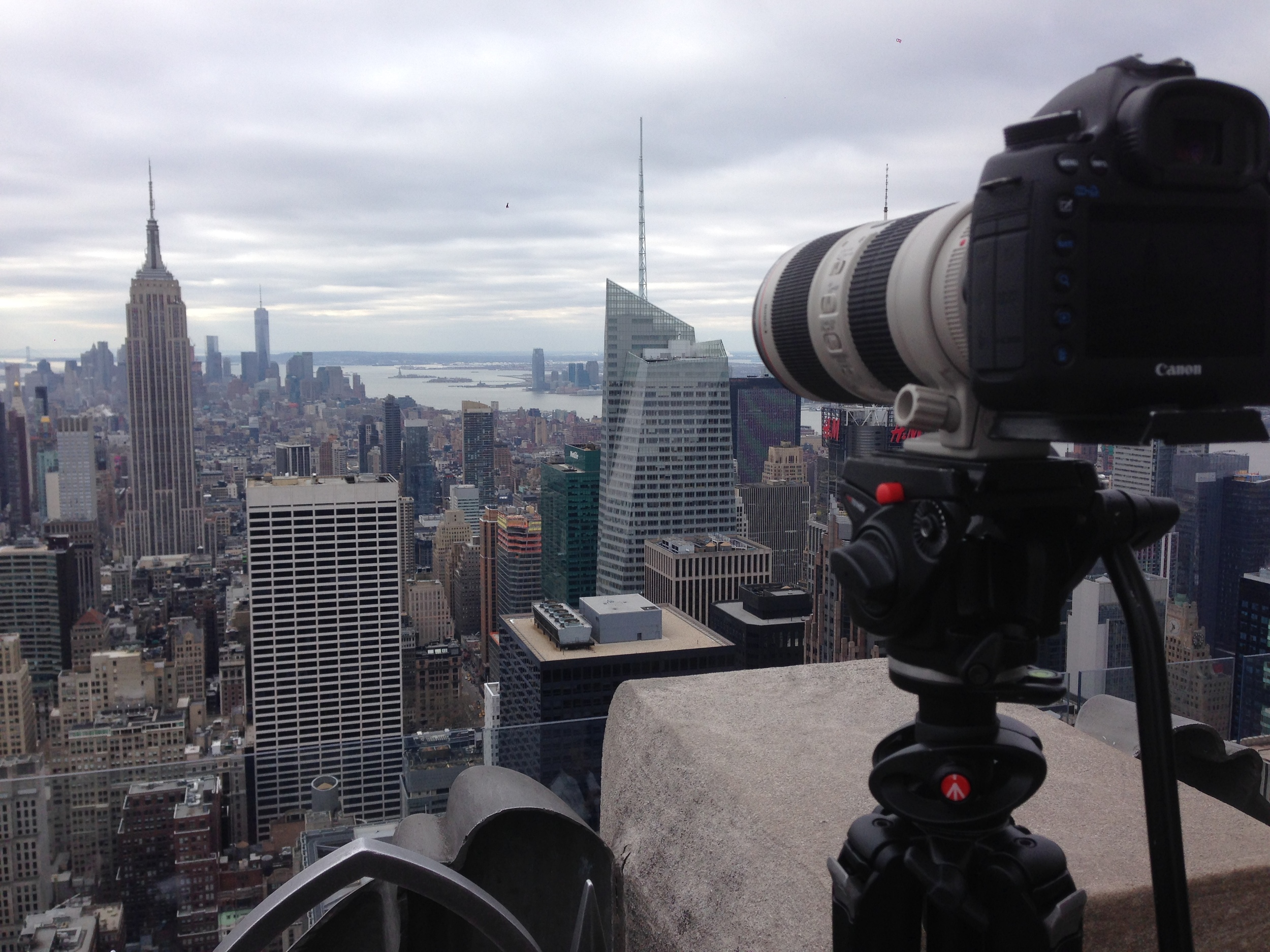 "Getting footage from the ""Top of the Rock"""