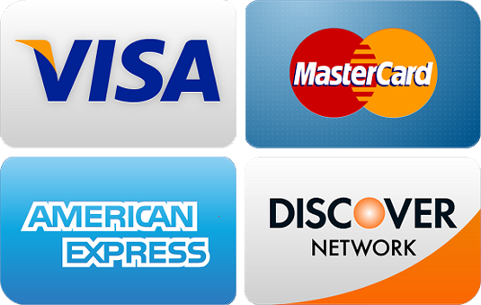 We accept all major credit cards, cash and checks.