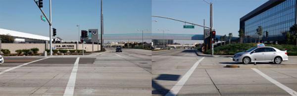 Enclosed walkway over El Segundo Blvd., bridging the Los Angeles Air Force Base and Aerospace Corporation | Photo : Brian Moss