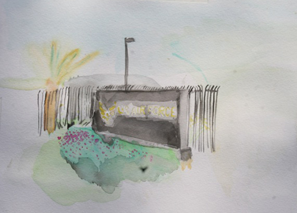 Watercolor by Robby Herbst | Photo : Hillary Mushkin