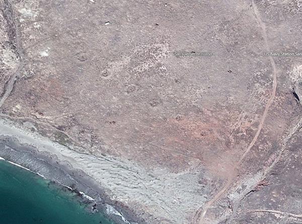 Bombardment scars, San Clemente Island, screen shot |Courtesy of bing.com