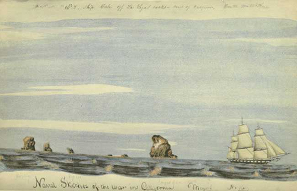 """William H. Meyers, The USS Sloop Dale off La Ligas Rocks (27 November 1846), from """" Naval Sketches of the War in California """", Watercolor Print, Limited Edition of 1000, Grabhorn Press, San Francisco, 1939  Courtesy of Franklin Delano Roosevelt Collection"""