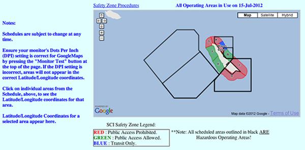 San Clemente Island access schedule, screen shot  Courtesy of  scisland.org