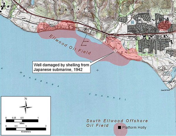 Detail map of Ellwood and Ellwood Offshore Oil Field, showing location of Luton-Bell Well No. 17, damaged by Japanese shelling Feb 23, 1942