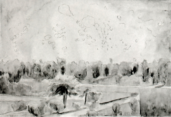 """""""Baghdad, 1991,"""" Hillary Mushkin, watercolor and pencil on paper, 9 x 11 inches, detail, 2011"""
