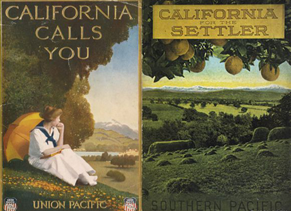 """Figure 1 (Left): """"California Calls You,"""" ca. 1900. Union Pacific Railroad  pamphlet  , University of California-San Diego Special Collections; Figure 2 (Right): """"California for the Settler: The Natural Advantages of the Golden State for the Present Day Farmer,"""" ca. 1910. Pamphlet cover, Southern Pacific Company. Courtesy of the California State Railroad Museum Library"""