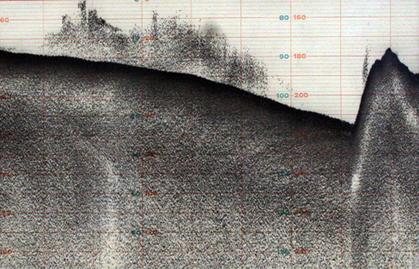 """Undersea sonar recordings,"" Tom McMillin, sonar recordings, 8.5 x 5.5 inches, circa 1980. | Photo: Hillary Mushkin"