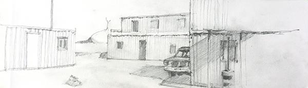 Twentynine Palms MCAGCC mock village, pencil on paper by Andy Wilcox, 2013