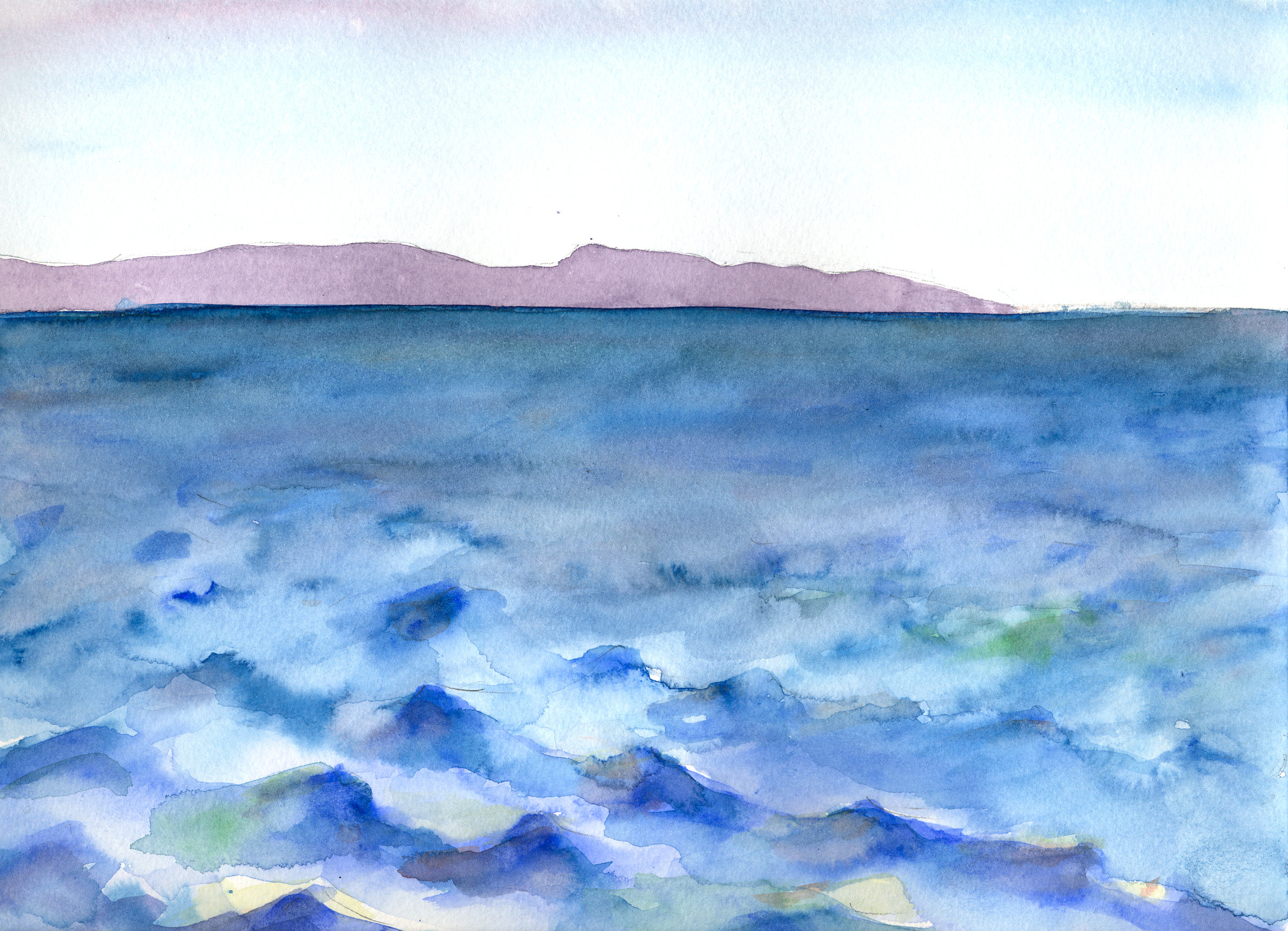 San Clemente Island Naval Weapons Testing Range | Watercolor by Hillary Mushkin | 2012
