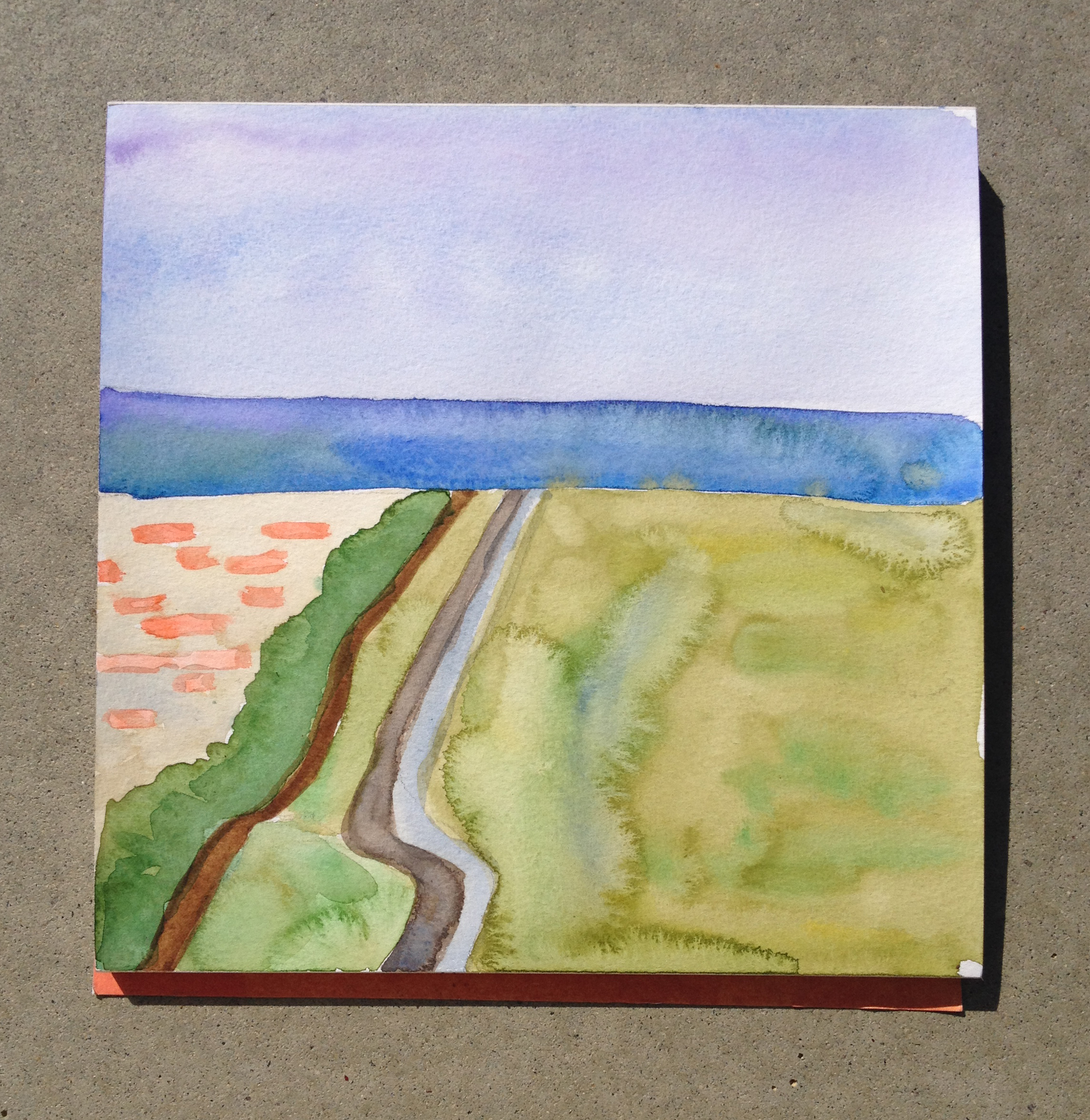A view of the Pacific from Bunker Hill at the US-Mexico Border | Watercolor by Hillary Mushkin