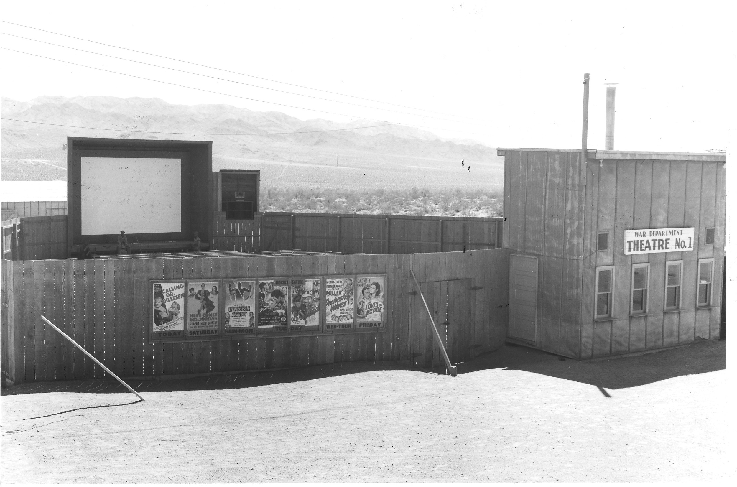 A theater operated inside the Desert Training Center, though many troops saw films in the nearby communities while on leave. Other entertainment options included baseball leagues, USO shows, and dances though much of soldiers' free time was spent in the field, playing cards or writing home. U.S. Army photograph, courtesy of the General Patton Memorial Museum.