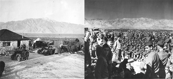"This image, by Captain Ray ""Swede"" Fernstrom, is identified as a typical desert base in North Africa. Information indicates the photo on the right was also taken in North Africa. Note the striking landscape similarities to the photograph of the Desert Training Center below. Courtesy of the General Patton Memorial Museum."