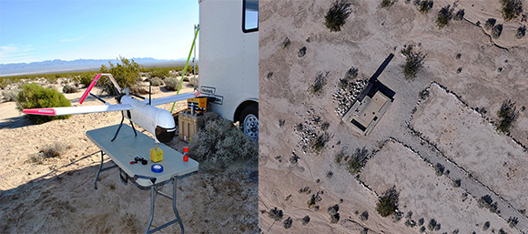 The Bureau of Land Management recently utilized drones to survey some of the DTC camps. Left, one of the BLM Drones prepares to complete an aerial survey. Right, an aerial view of the chapel at Iron Mountain, pictured above. Aerial surveying allows the BLM to record current conditions of archeological sites and note building foundations and even smaller objects, many of which have been lost when people take artifacts from the area, despite laws against removing such items. Courtesy of the Bureau of Land Management, Needles Field Office.