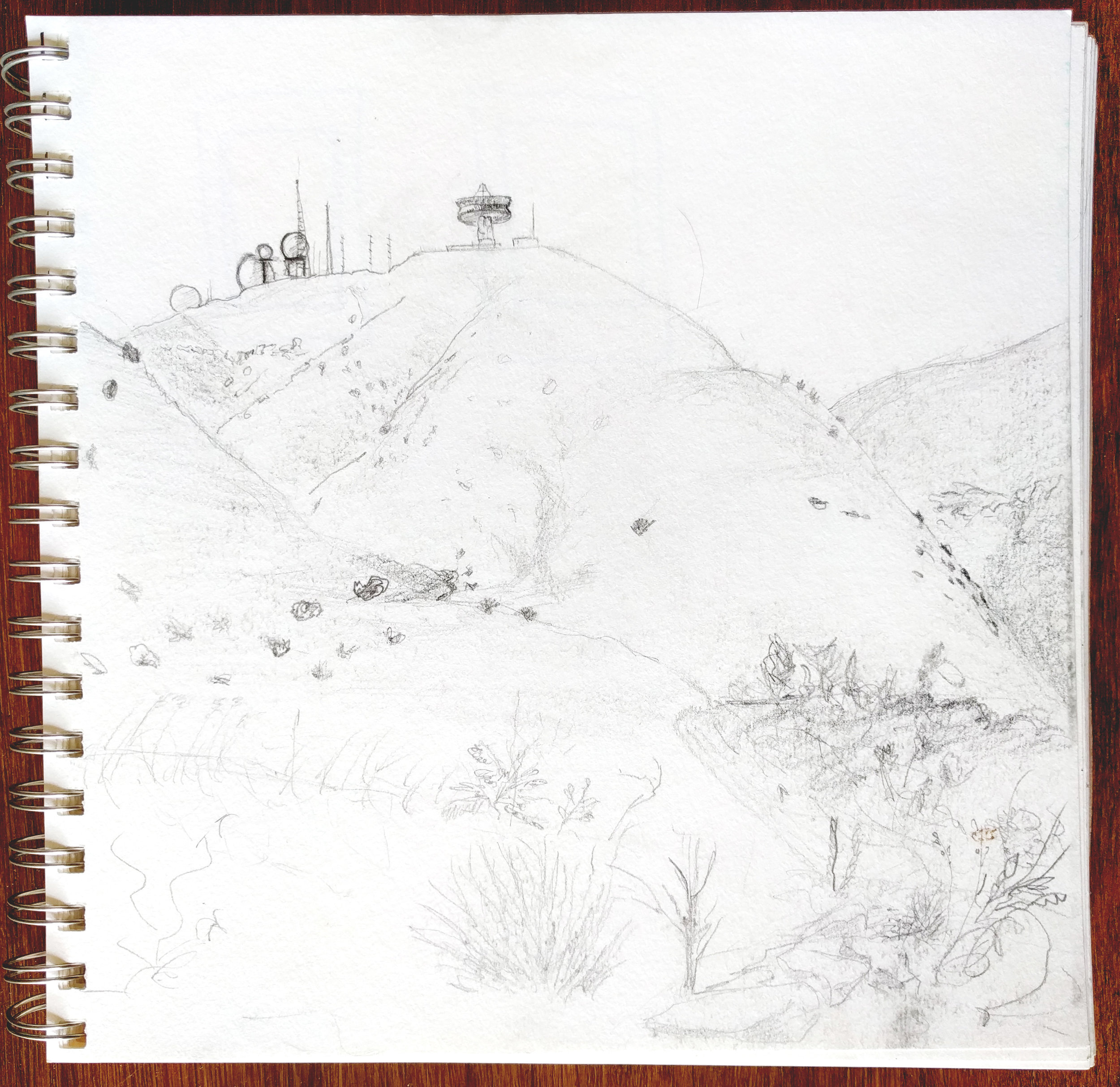 Conor Collins | Sketch of Laguna Peak Tracking Station, 2016 | Pencil on paper