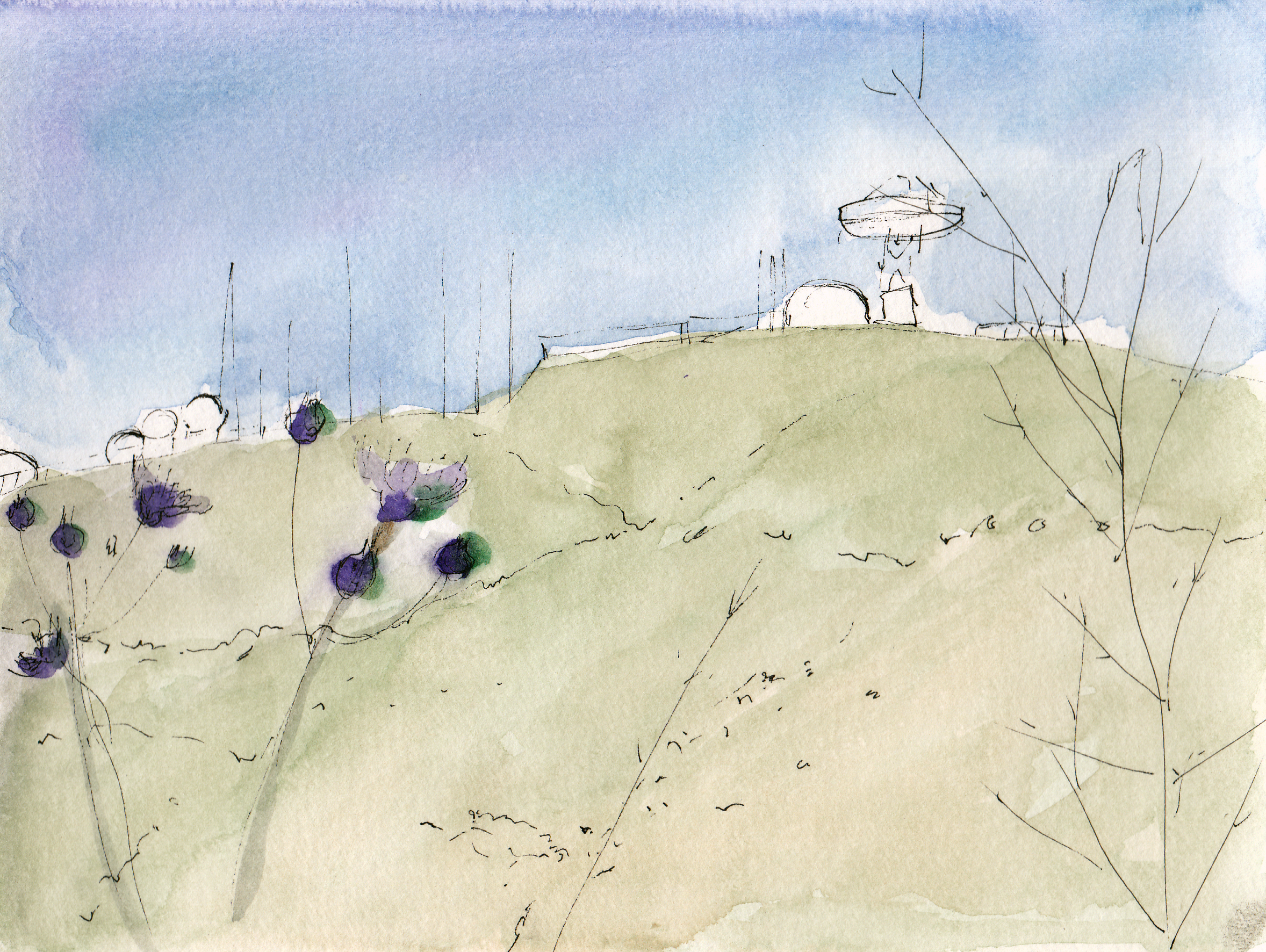 Hillary Mushkin | Sketch of Laguna Peak Tracking Station, 2016 | watercolor and ink on paper