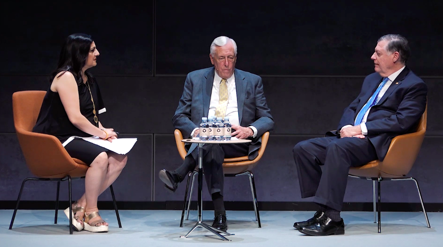 Indira Lakshmanan  interviews Rep.  Steny Hoyer  and Rep.  Tom Cole    (Photo courtesy AoD)