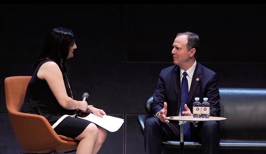 Indira Lakshmanan  interviews Rep.  Adam Schiff    (Photo courtesy AoD)