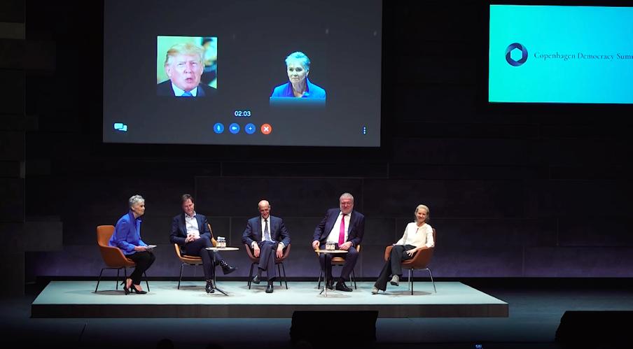 Democracy and Technology – Solution or Problem Panel  Jeanne Meserve  interviews  Nick Clegg ,  Michael Chertoff ,  Lars Seier Christensen  and  Sasha Havlicek   (Photo courtesy AoD)