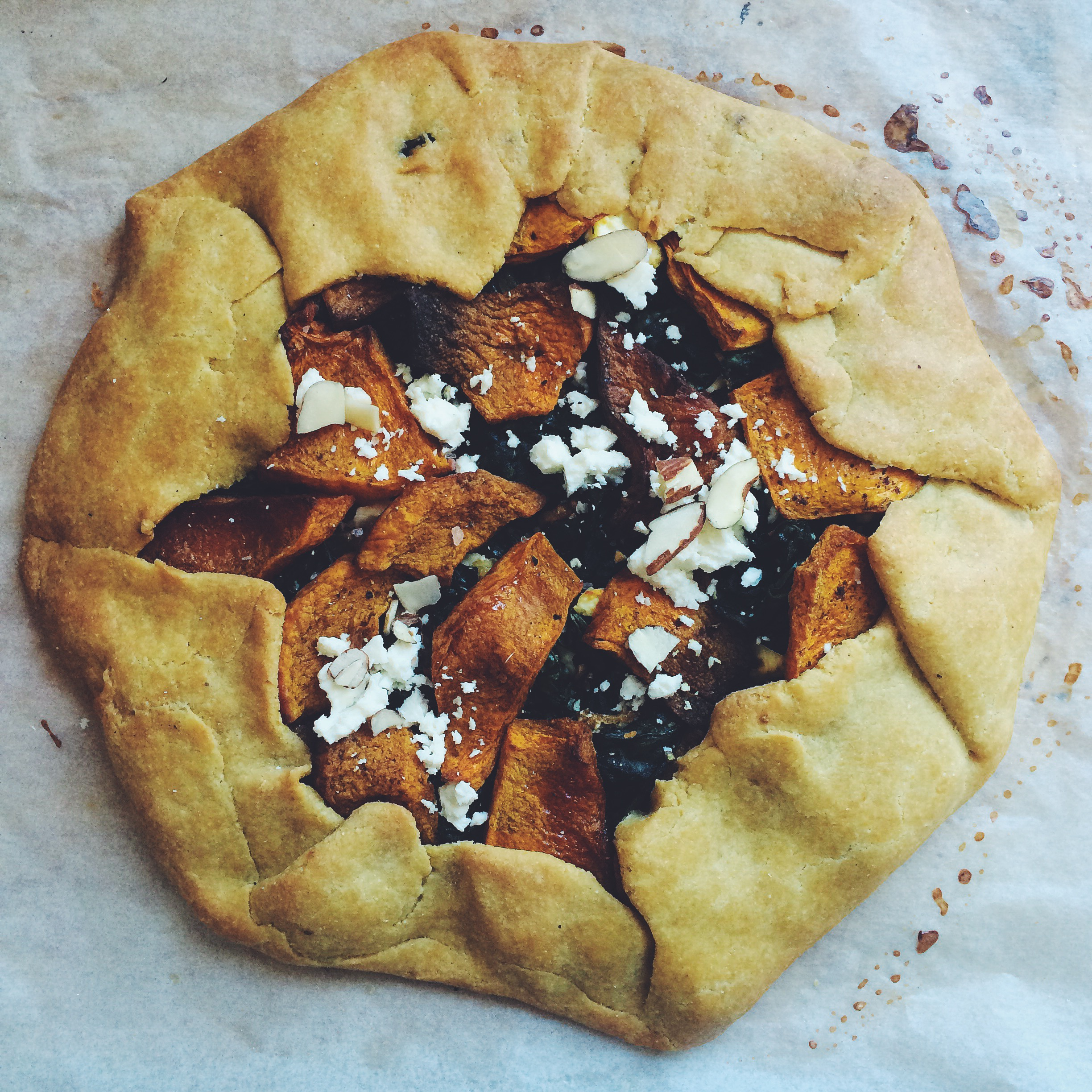 kale pumpkin and feta pie