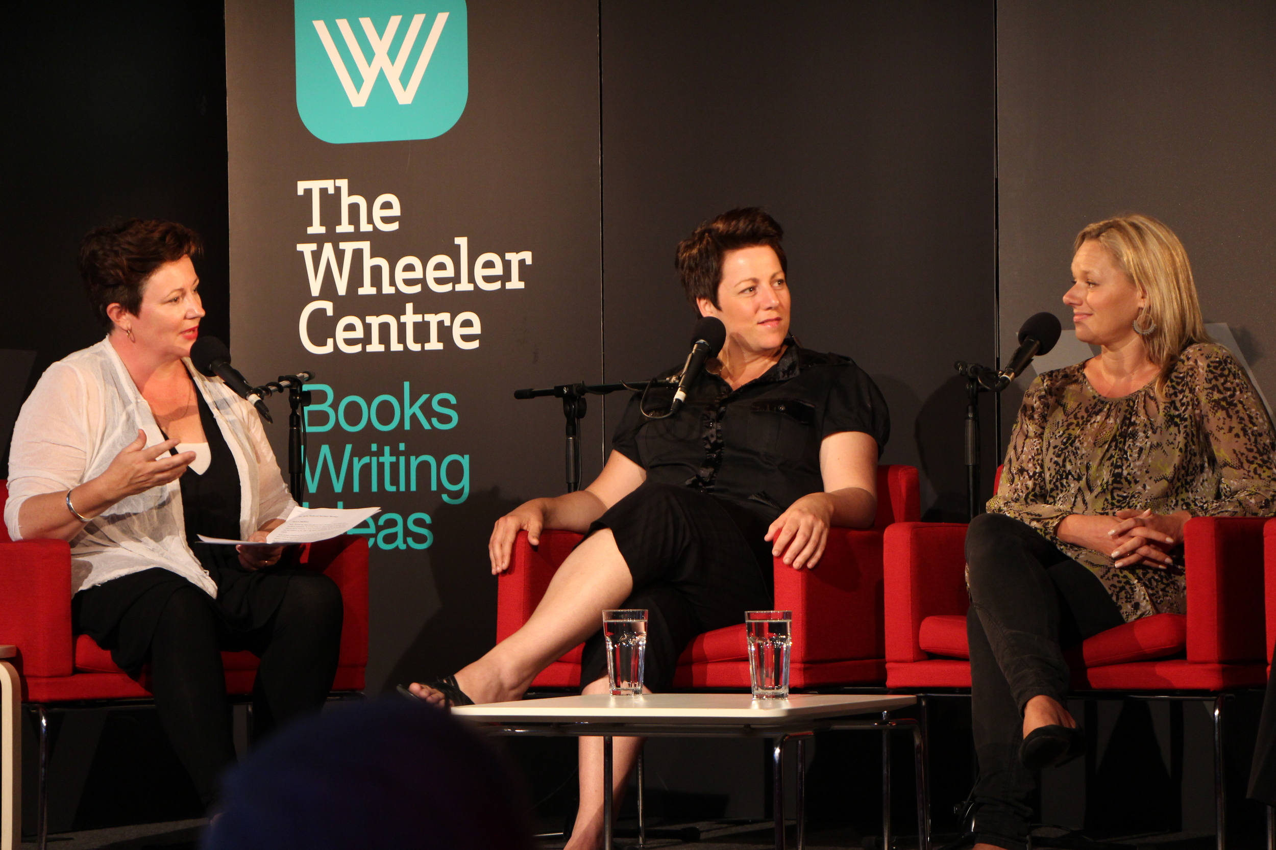 Sabina on a discussion panel at The Wheeler Centre.