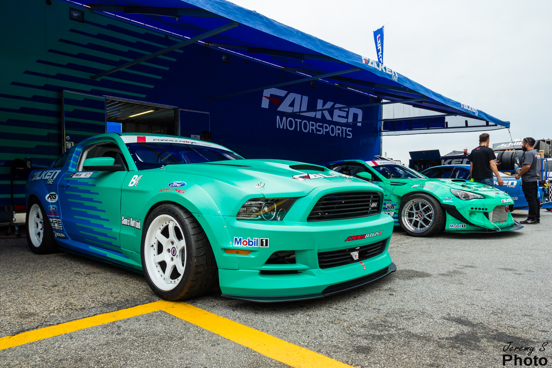 Team Falken rig with Justin Pawlak's Mustang and Daijiro Yoshihara's BRZ.