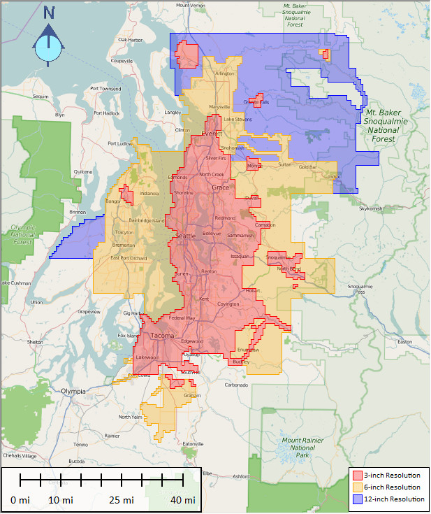 King County Regional Orthophoto Extents by Resolution