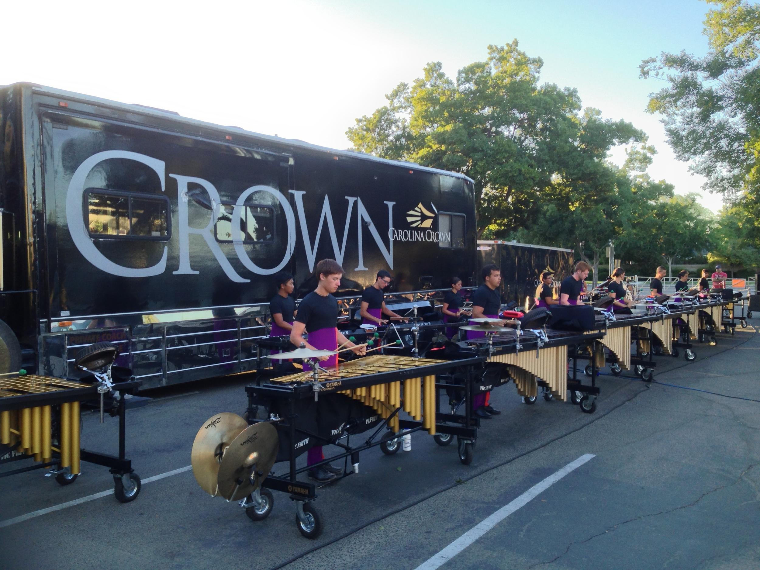 Carolina Crown 2013 Front Ensemble warming up in Clovis, CA