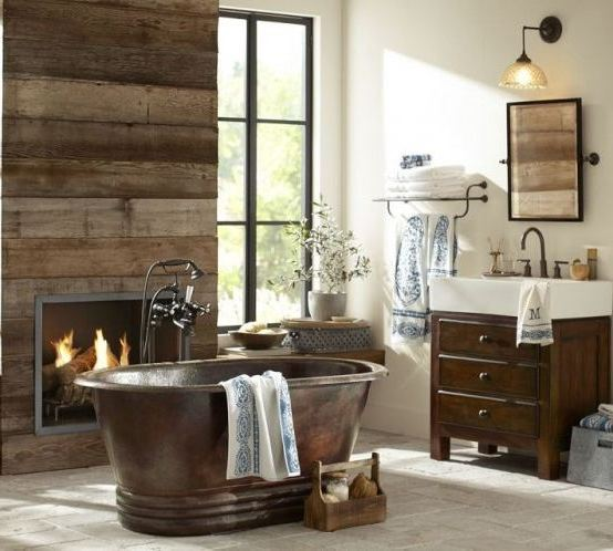 A fireplace in the bathroom, next to the soaker tub. One can dream, right?