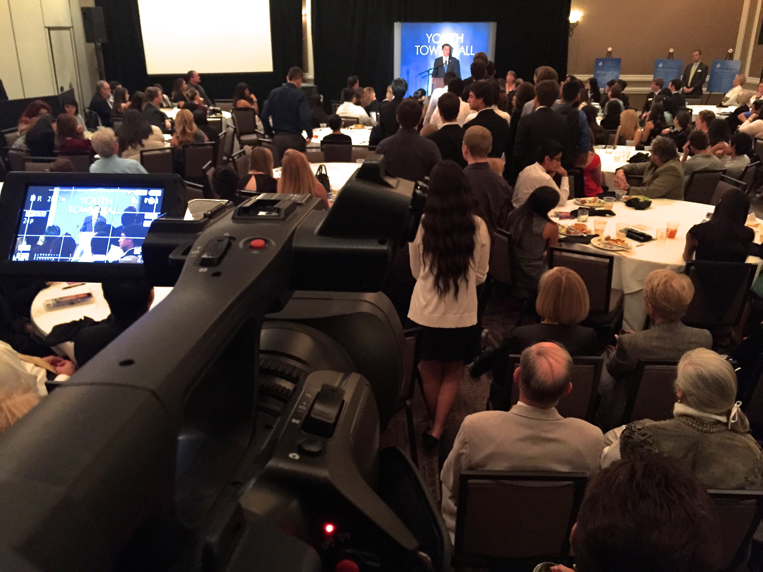 DATA students film Mitt Romney's Youth Town Hall event.