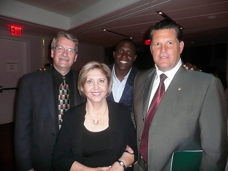 Gloria Pennington with GFF Cofounder Shawn Cowper, MD (left), Shawn Springs (center), and Greg Buttle (right), at the first Annual GFF Fundraiser in NYC in 2010.