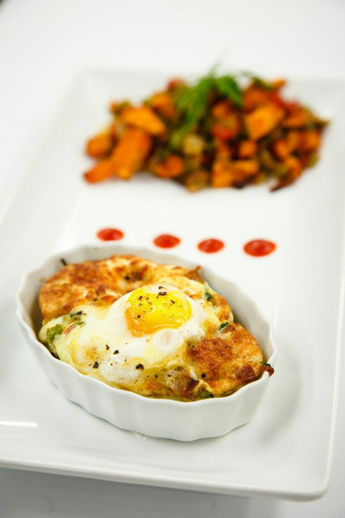 Baked eggs and sweet potato hash