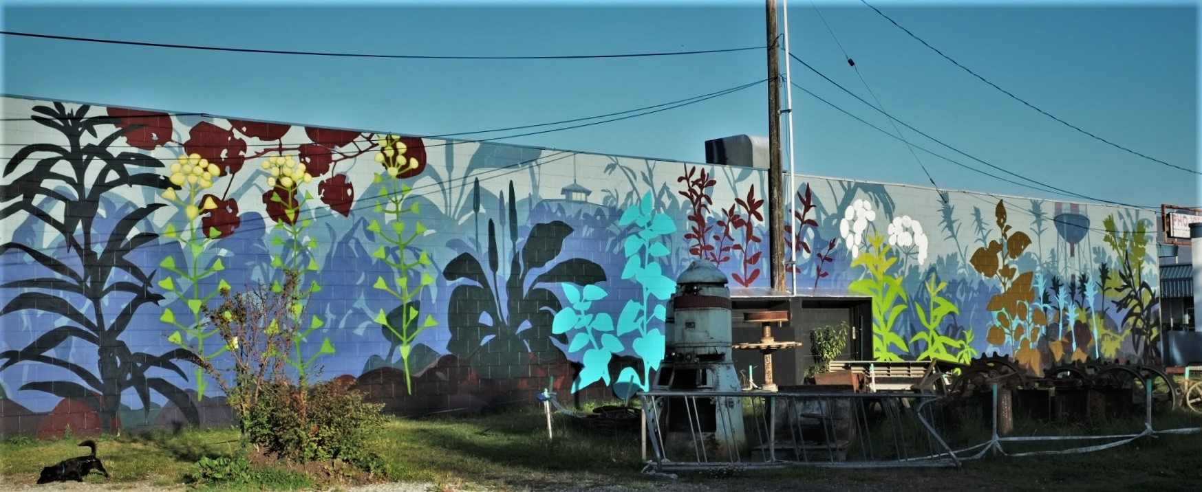 """Common Ground,  14' x 100"""" exterior mural. -Linda Infante Lyons- 9/2018                                                                      CLICK TO ENLARGE IMAGE"""