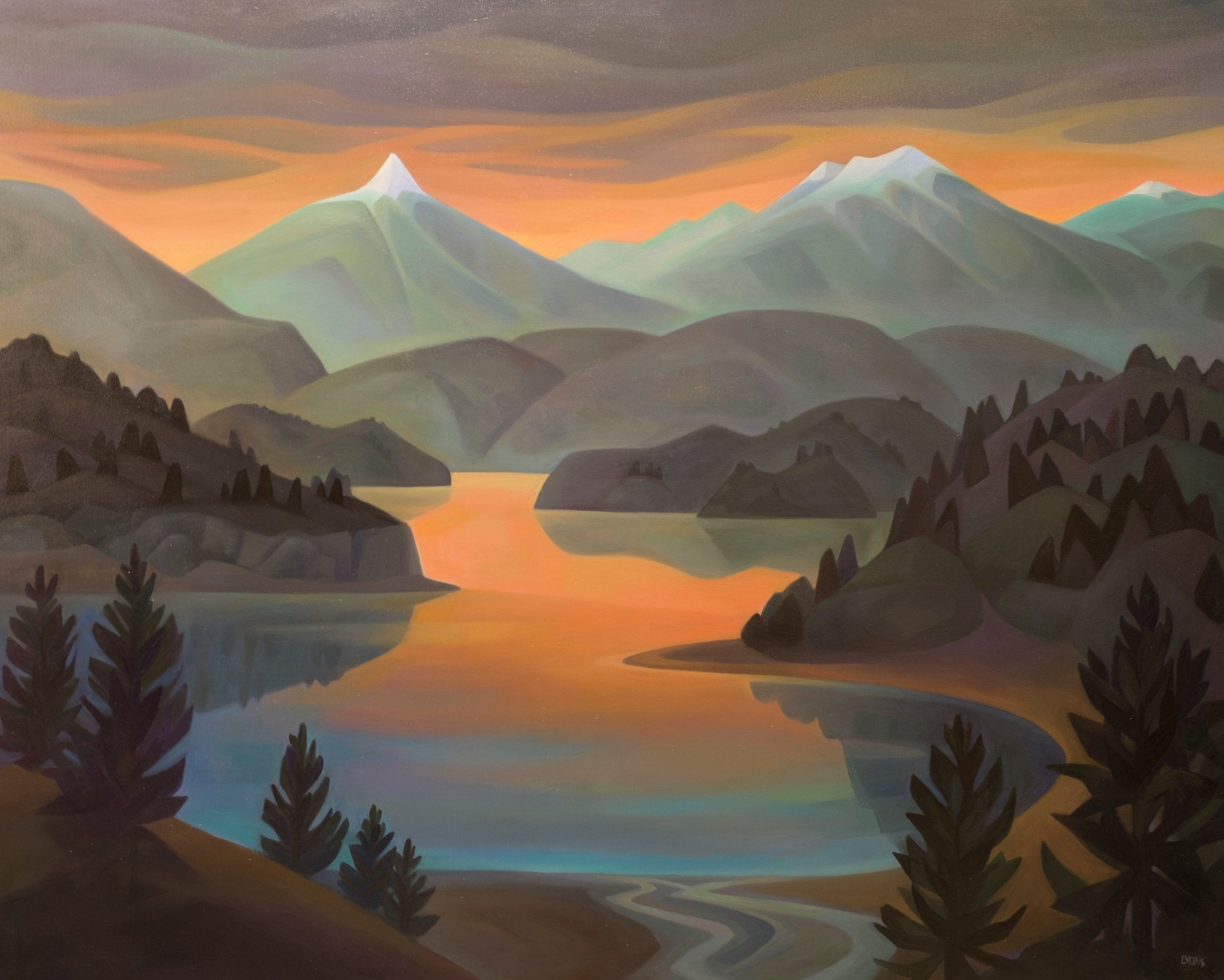 """Sunset at Pyramid Mountain  48"""" x 60""""   Oil on Canvas  Permanent Collection- The Alutiiq Museum"""