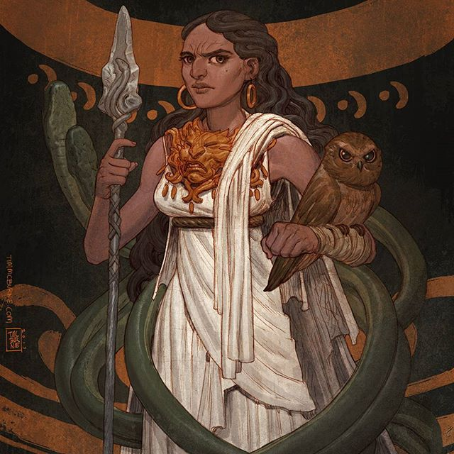 Drawing Gods again. Pencil colored in Photoshop. #drawing #mythology #athena #aegis #serpent #owl #ancientgreece #goddess #wisdom #adventurer