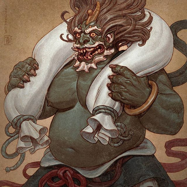 Drawing Gods again. Pencil drawing colored in Photoshop. #drawing #mythology #shinto #fujin #windgod #japanese #adventure #fantasy #monster