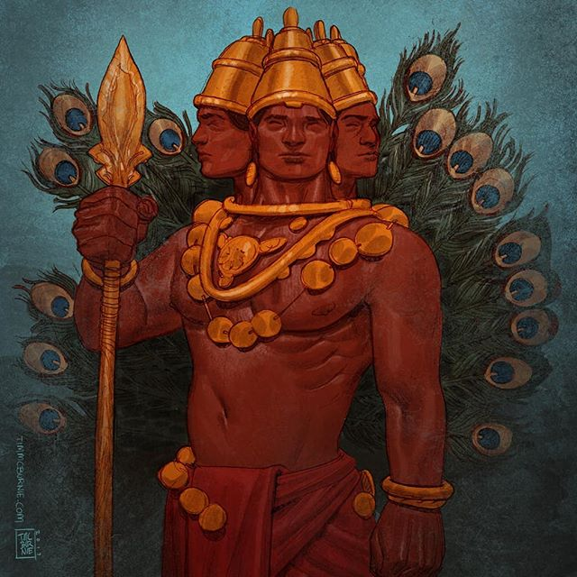 More art from Mythic Arcana - Kartikeya: God of War. Pencil colored in Photoshop. #mythicarcana #mythology #godofwar  #kartikeya #drawing #sketching #illustration #fantasy #characterdesign #tabletopgames #cardgame #tauleadergames #comicbookart #conceptart #characterdesign