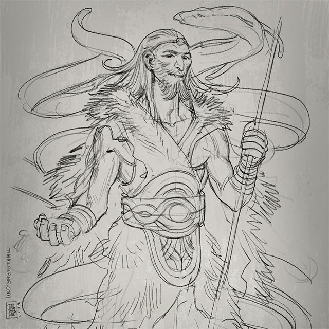 More art from Mythic Arcana -  preliminary sketches of the Norse gods: Loki, god of mischief, Heimdall god of passage, and Bragi god of poetry. Photoshop lines. #mythicarcana #mythology #loki #heimdall #bragi #drawing #sketching #illustration #fantasy #characterdesign #tabletopgames #cardgame #tauleadergames #comicbookart #conceptart #characterdesign